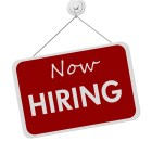 A red and white sign with the words Now Hiring isolated on a white background Now Hiring Sign