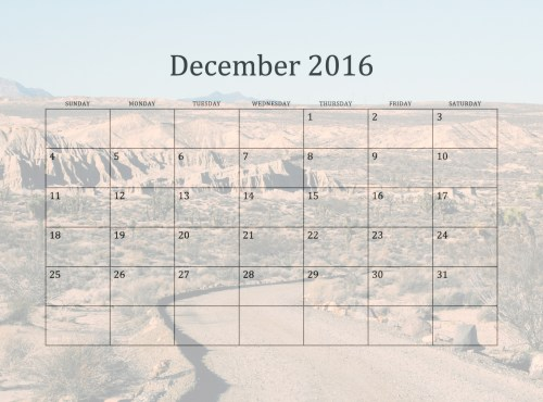 December Monthly Calendar By Linnaea .January 2016 Monthly Observances ...