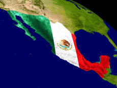 66304325 - map of mexico with embedded flag on planet surface. 3d illustration.
