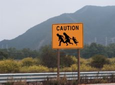 7053473 - highway sign showing family crossing
