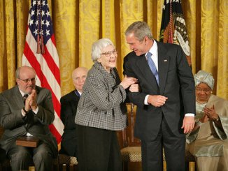 Harper Lee receiving the Presidential Medal of Freedom in 2007 from George W. Bush