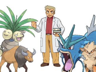 Professor Oak with a selection of Pokémon