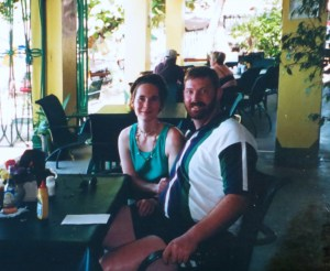 In case you were wondering, a cheeseburger in paradise is way more fun than a progesterone shot. (My husband and I, pre-IVF days, at Stanley's on the island of Tortola.)