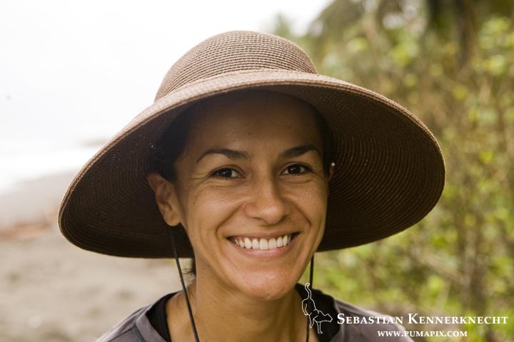 Jaguar (Panthera onca) biologist, Stephanny Arroyo-Arce, Coastal Jaguar Conservation Project, Tortuguero National Park, Costa Rica