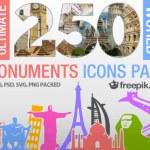 Pack de 250 vectores de monumentos de todo el mundo