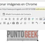 Redimensionar imágenes en el editor visual de WordPress con Chrome