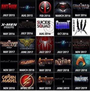 Todos los estrenos de películas de superhéroes hasta el 2019