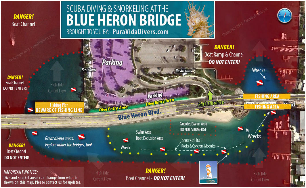 Map of Blue Heron Bridge Diving Area - Phil Foster Park