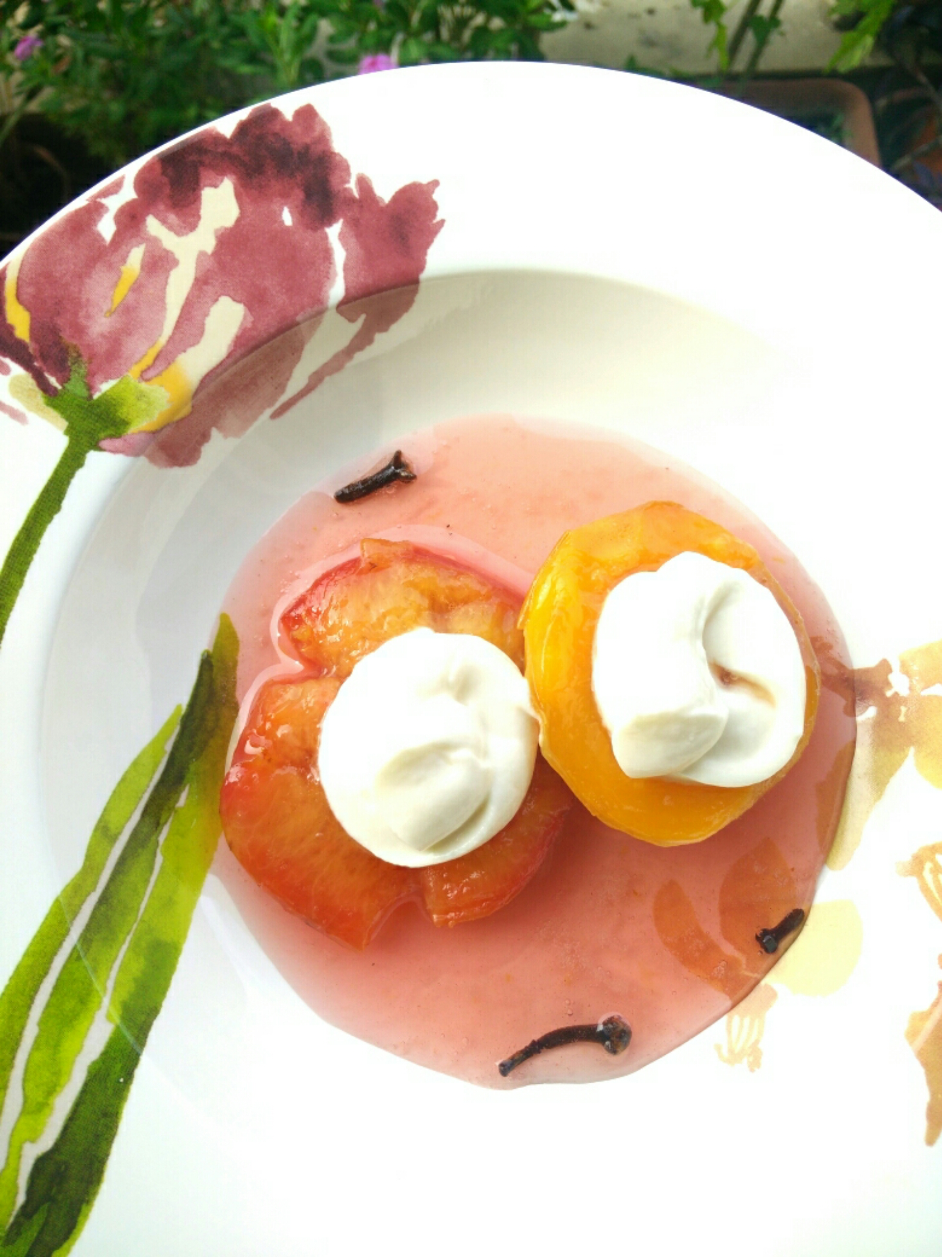 Poached peaches and plums with honey vanilla yogurt ...