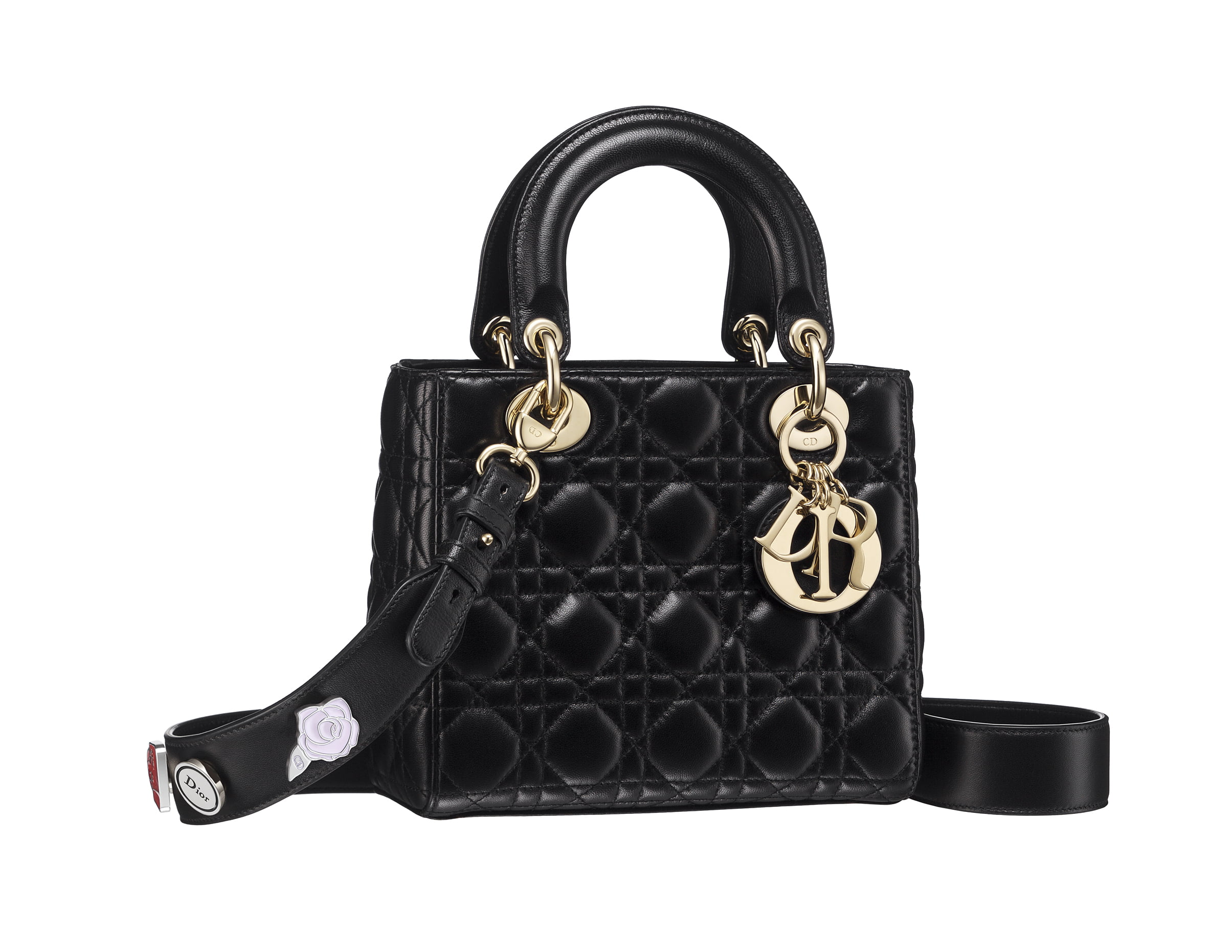 Lady Dior Small Pins - Black w Gold