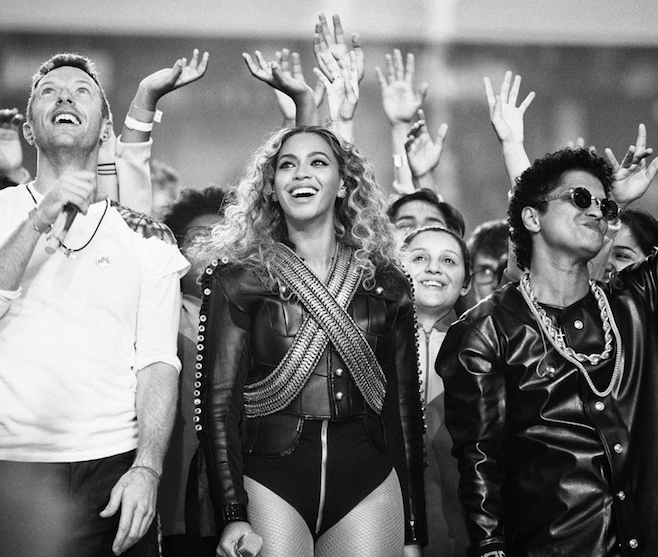 Video: Coldplay, Bruno Mars, Beyoncé, Mark Ronson Perform at the Super Bowl 50 Halftime Show