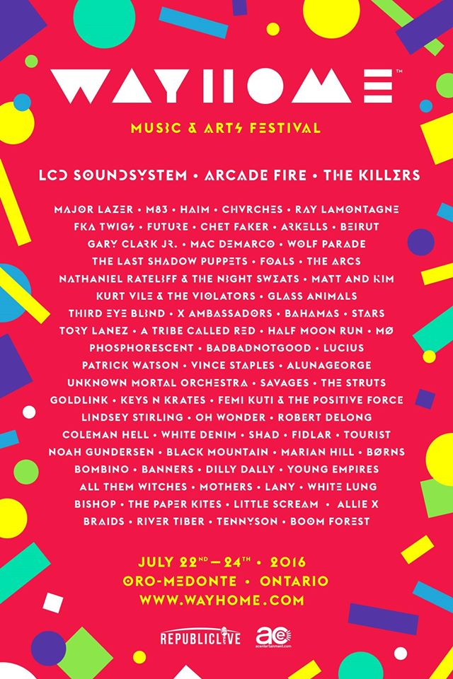 Wayhome Music Festival 2016 Lineup Announced, feat. LCD Soundsystem, Arcade Fire, The Killers