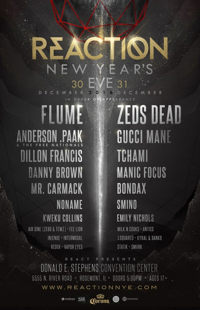 Reaction New Year's Eve Announces 2016 Lineup