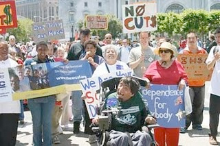 Image of people with disabilities protesting