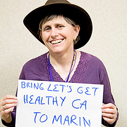 Connie Barker, taking part in SEIU-UDW's preventative health campaign.