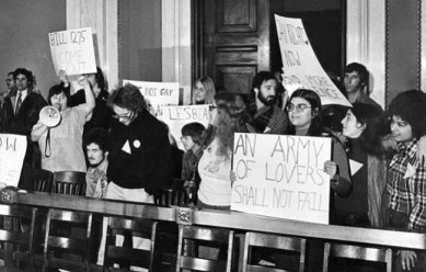 "A young Barbara Ruth, (Holding ""Army of Lovers"" sign) with Kathy Hogan and Paola Bacchetta at Philadelphia City Hall protest."