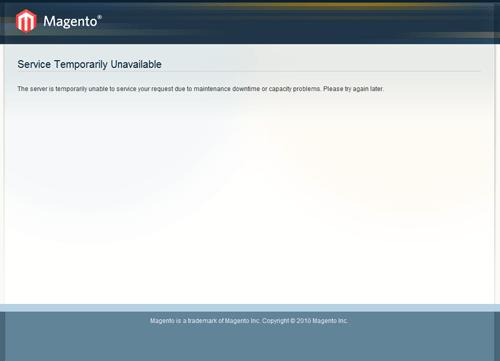Service Temporarily Unavailable Magento