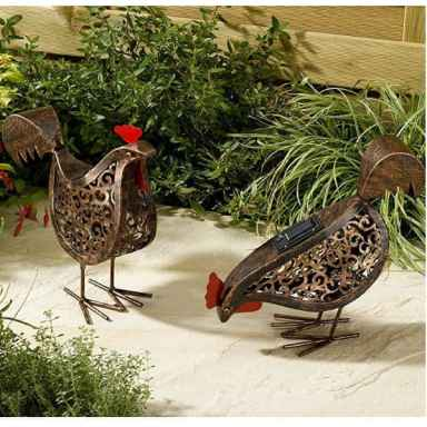 2 solar hens with there own solar panels - Make beautiful gifts