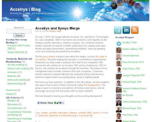 Accelrys blog