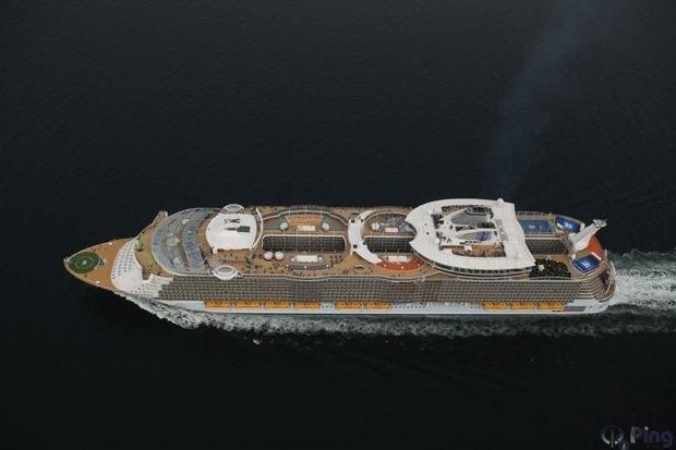 Allure of the Seas passes The Great Belt Bridge, Denmark.
