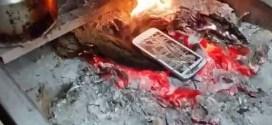 فيديو: سعودي يحطم جهاز (جلاكسي اس 4) بستخدام ادوات بناء ثم يحرقه