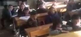 شاهد بالفيديو : قصف مدرسه اطفال في سوريا اثناء حصة دراسية !! #مؤثر