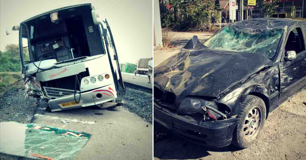 wrecked bus and car