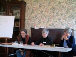 We wouldn't be Quakers if we didn't have lots of meetings. Left: QUIP clerks Lucy Duncan, Barbara Mays, Elizabeth Cave.