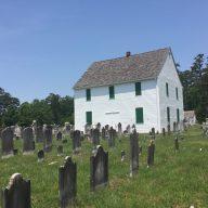 Tombstones toward the church.