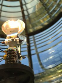 Two 1000 watt bulbs shine out over 19 miles because of the fresnel lens.