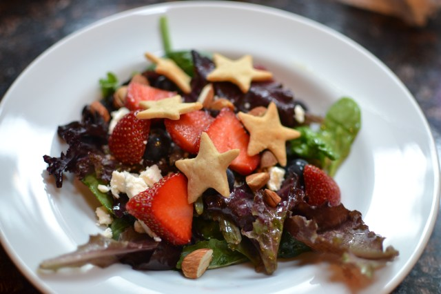 A Berry Patriotic Salad with Gluten-Free Star Croutons