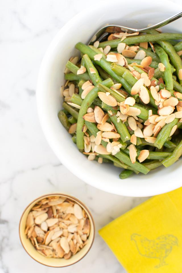 Maple Mustard Roasted Green Beans with Toasted Almonds