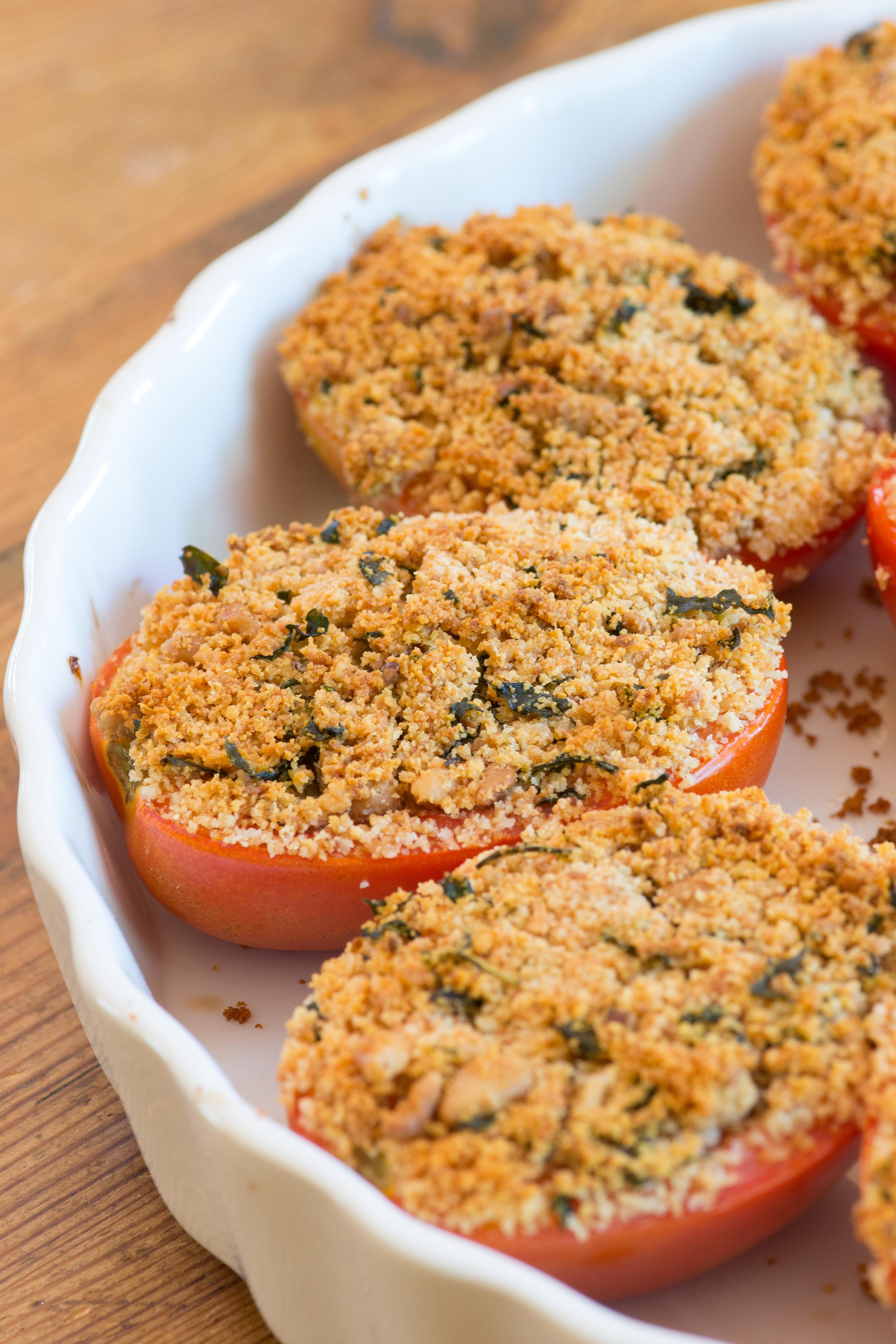 Quick and easy. Tomatoes stuffed with savory breadcrumbs, goat cheese ...