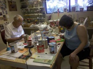 Poppo and me painting in his studio after Gramma passed.