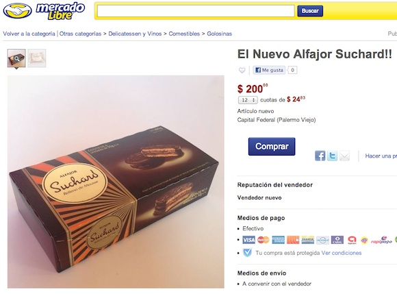 El nuevo alfajor Suchard en Mercado Libre