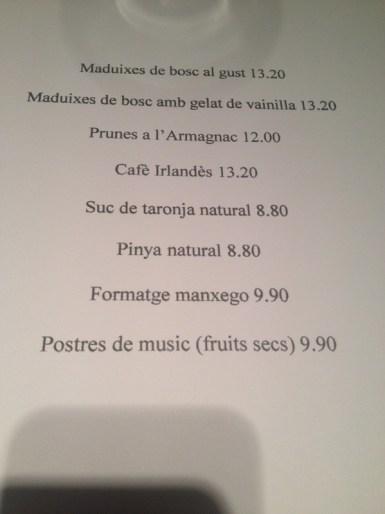 carta precio bebida bar barcelona: