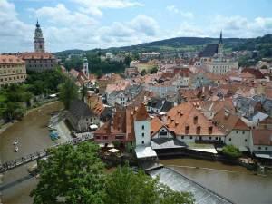 Vue de Český Krumlov depuis le Couloir du Château