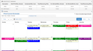 QSP Schedule view in web app