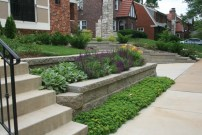 terraced retaining wall, steps, landscaping design st louis