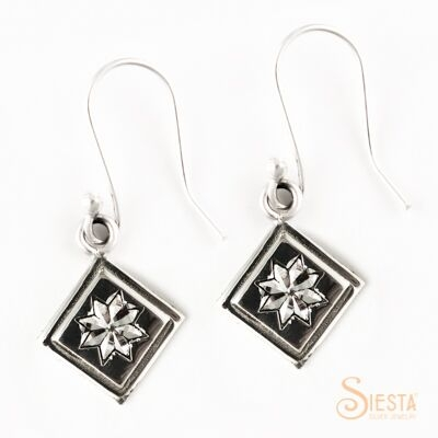 Lemoyne Star sterling silver earrings on hook from Siesta Silver Jewelry. Available at QuiltedJoy.com
