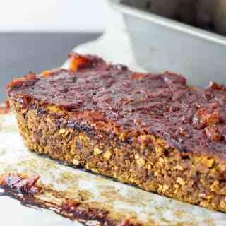 Lentil and walnut vegan 'meatloaf'.