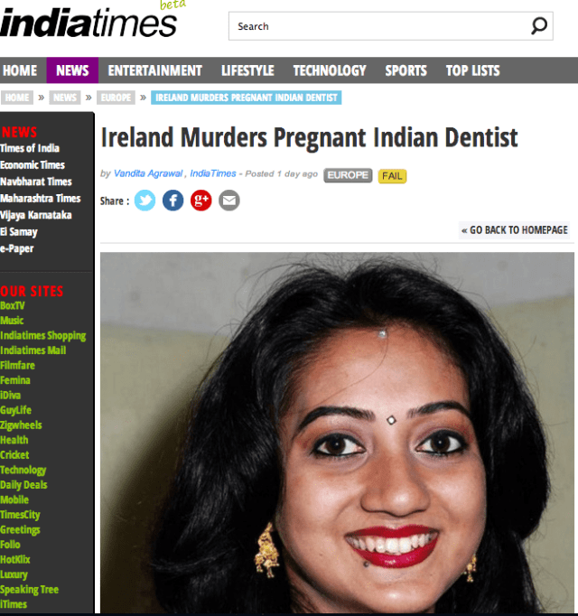 Ireland Murders Pregnant Indian Dentist