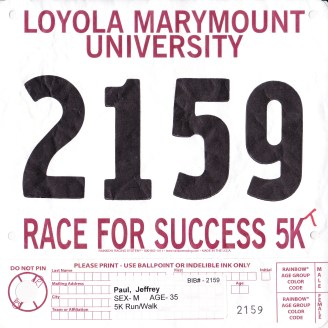 Race For Success - Jeff's race bib