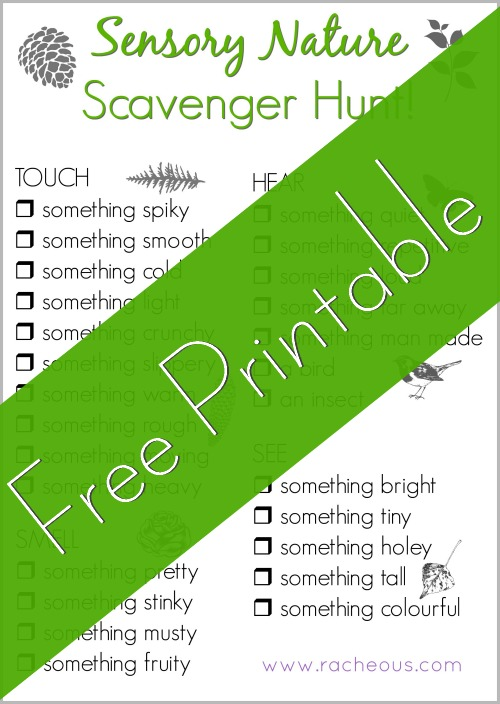 Nature Sensory Scavenger Hunt FREE Printable