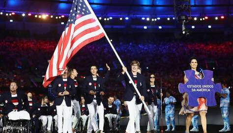 Pictured: Brad Kendell (left) and his team at the 2016 Paralympics opening ceremony.