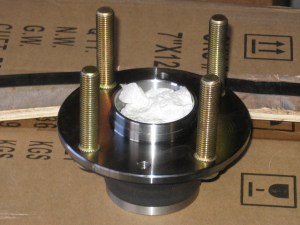 Heavy duty front hub bearing from FM, with ARP studs installed