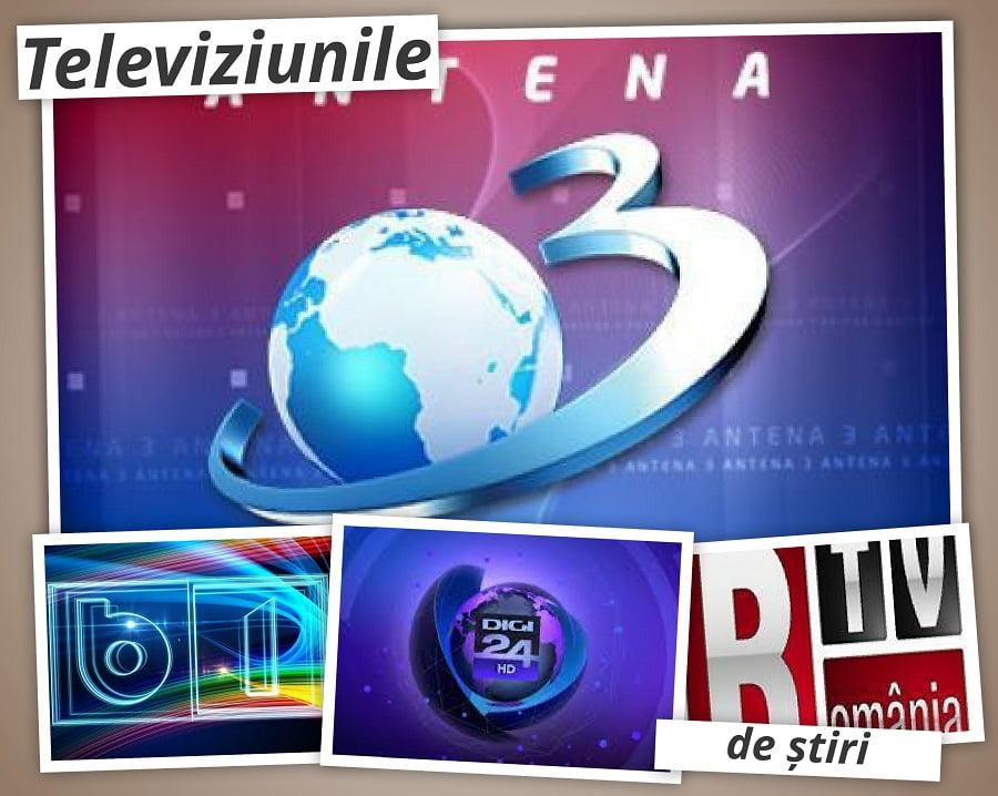 AUDIENŢE TV ŞTIRI: Bătălia pentru supremaţie s-a dat intre Antena 3 şi România TV. Ce audienţă a obţinut Digi 24?
