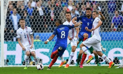(160704) -- PARIS, July 4, 2016 (Xinhua) - Dimitri Payet (2nd L)of France shoots to score during the Euro 2016 quarterfinal match between France and Iceland in Paris, France, July 3, 2016. (Xinhua/Tao Xiyi)