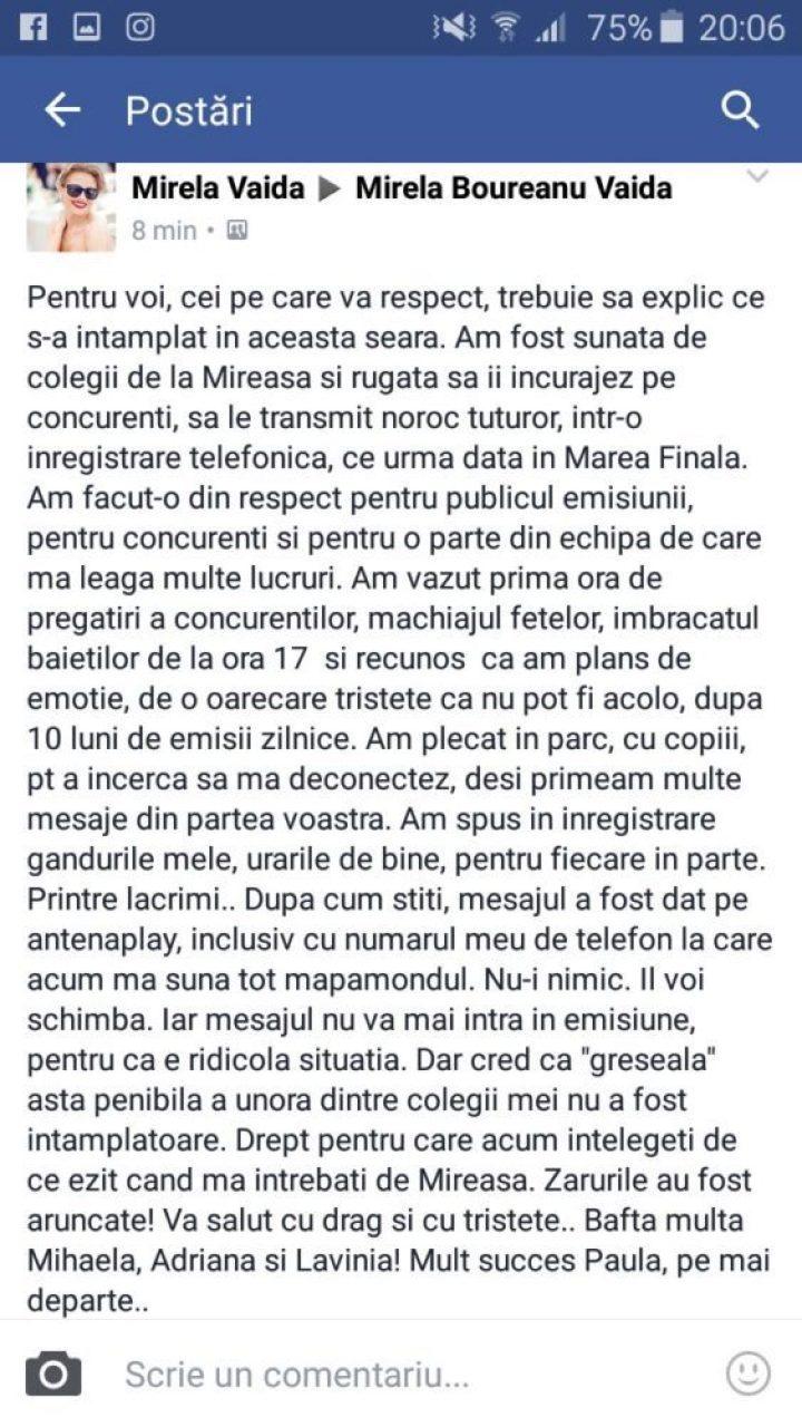 mesaj Mireala Boureanu Vaida