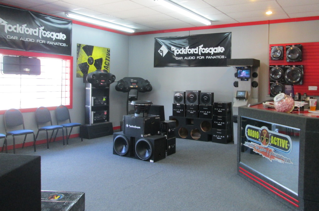 Radioactive storefront - featuring Rockford Fosgate car audio and video components and systems